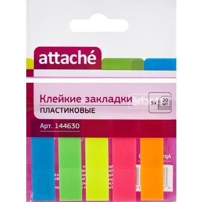 Клейкие пластиковые закладки Attache, 5 цветов по 20 листов, 12х45 мм