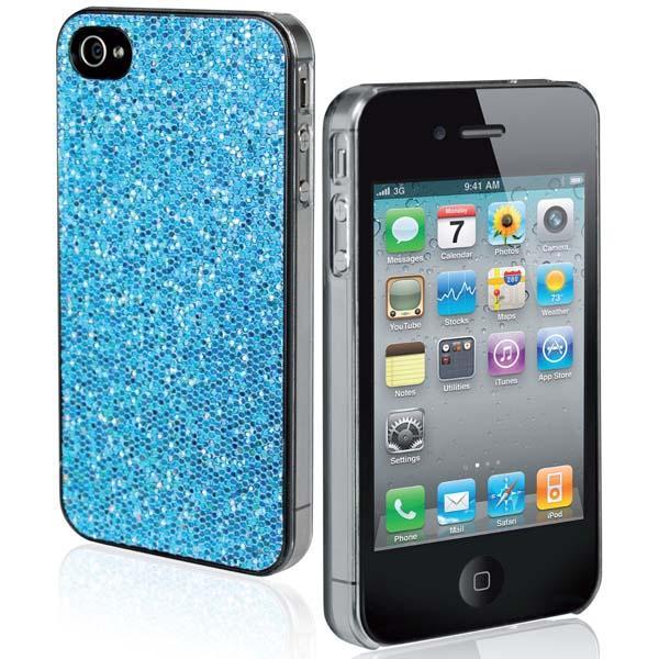 Чехол для iPhone 4/4S (блестки, голубой)