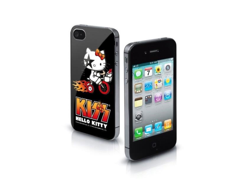 Чехол жесткий Hello Kitty Kiss для iPhone 4/4S (алюминий, черный)