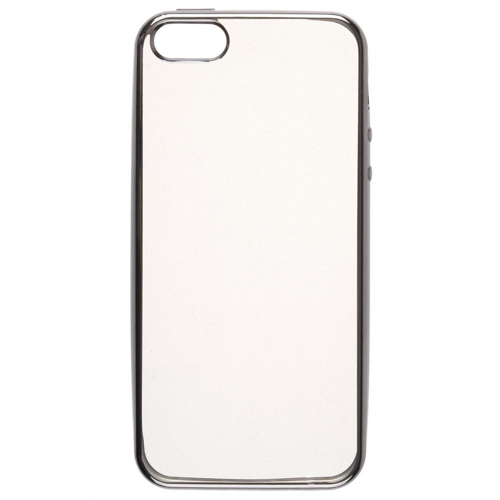 Силиконовый чехол для телефона skinBOX. Silicone chrome border, для Apple Iphone 5/5S, цвет розовый