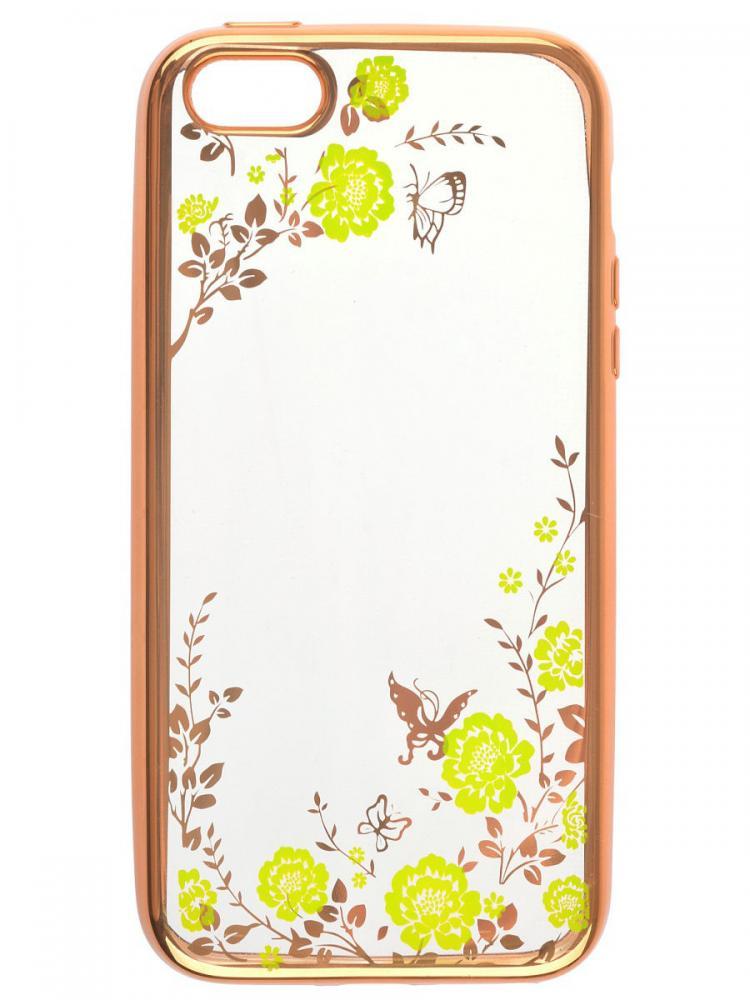 Силиконовый чехол для телефона skinBOX. Silicone chrome border color style 1, для Apple Iphone 5/5S, цвет зеленый