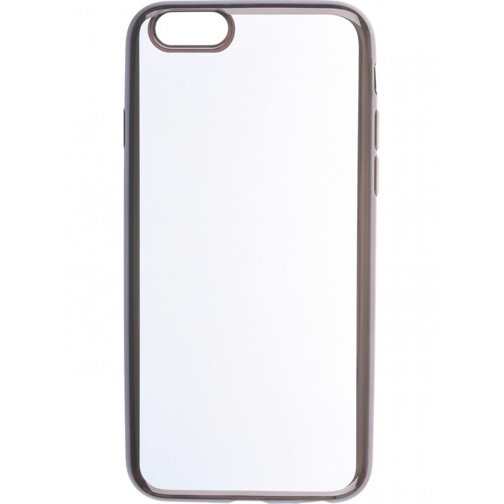 Силиконовый чехол для телефона skinBOX. Silicone chrome border, для Apple Iphone 6/6S, цвет темно-серебристый