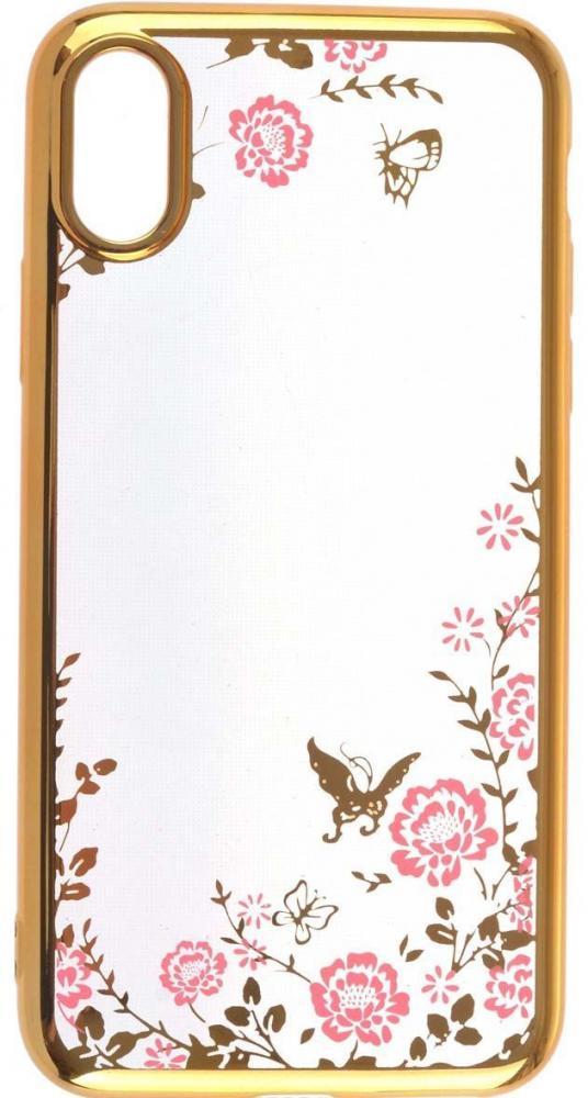 Силиконовый чехол для телефона skinBOX. Silicone chrome border color style 1, Apple iPhone X, цвет розовый