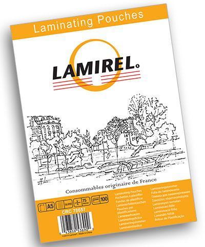 Пленка для ламинирования Lamirel, А5, 75 мкм, 100 штук