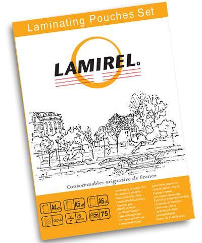 Пленка для ламинирования Lamirel, набор А4, A5, A6 - по 25 шт каждого формата, 75 мкм, 75 штук