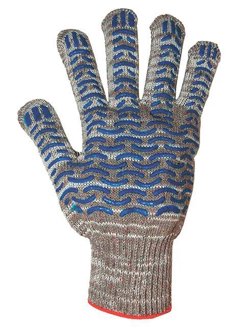Перчатки хлопчатобумажные Трек, меланж с ПВХ, 6-ти нитка, 13 класс, размер L