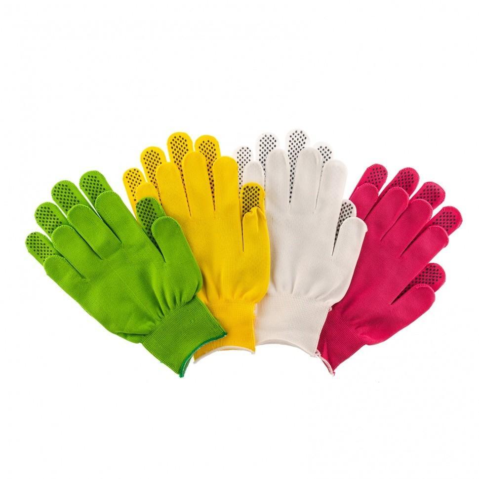 Перчатки в наборе, цвета белые, розовая фуксия, желтые, зеленые, ПВХ точка, размер L