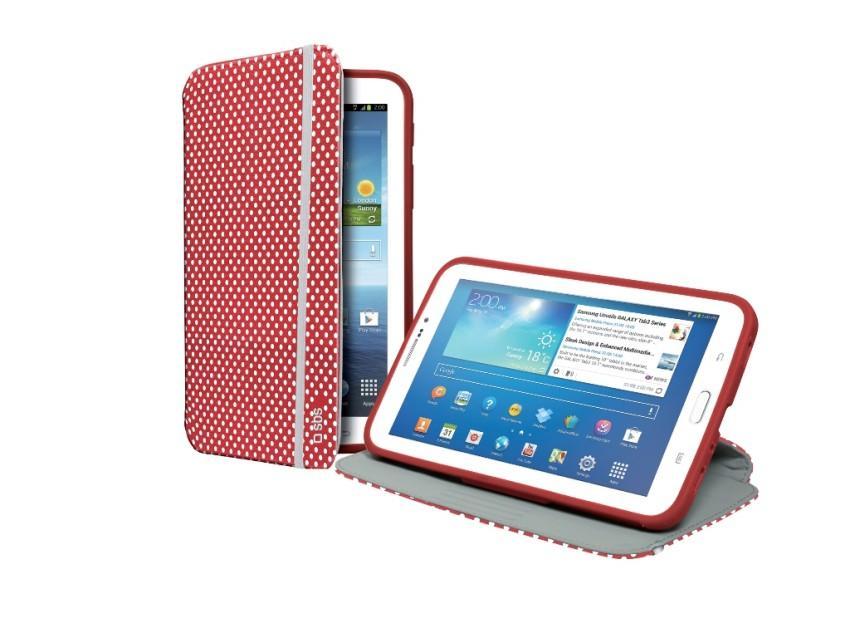 Чехол-книжка с подставкой для планшета Samsung Galaxy TAB 3 7.0 с отделкой 3D (красный в белый горошек)