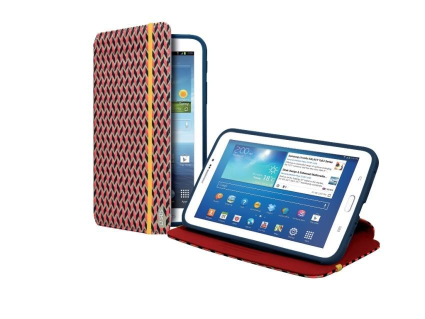 Чехол-книжка с подставкой для планшета Samsung Galaxy TAB 3 7.0 с отделкой 3D (черный с красно-серым узором)