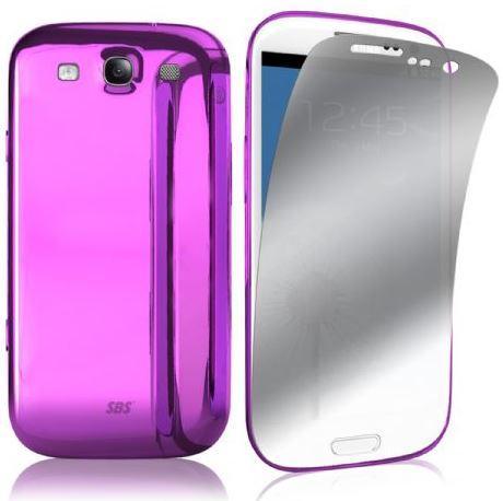 Чехол и защитная пленка для Samsung Galaxy S III, розовый