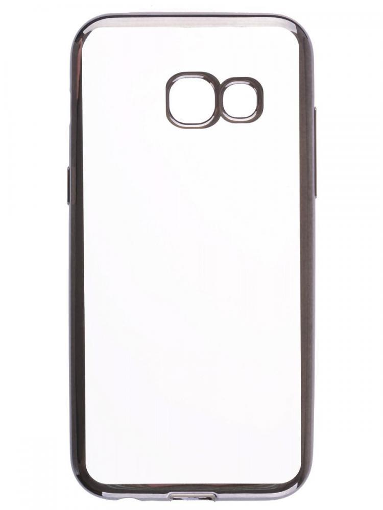 Силиконовый чехол для телефона skinBOX. Silicone chrome border, для Samsung Galaxy A3 (2017), цвет темно-серебристый