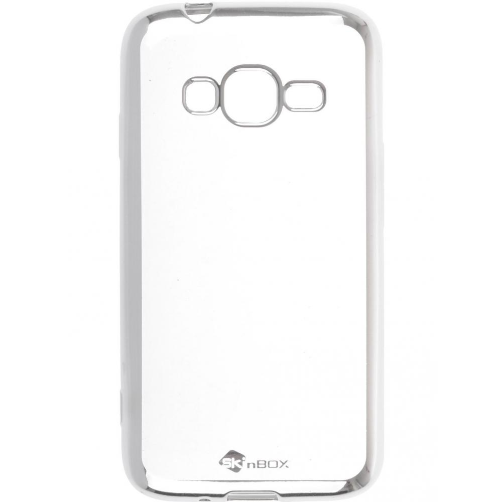 Силиконовый чехол для телефона skinBOX. Silicone chrome border, для Samsung Galaxy J1 mini Prime J106, цвет серебристый