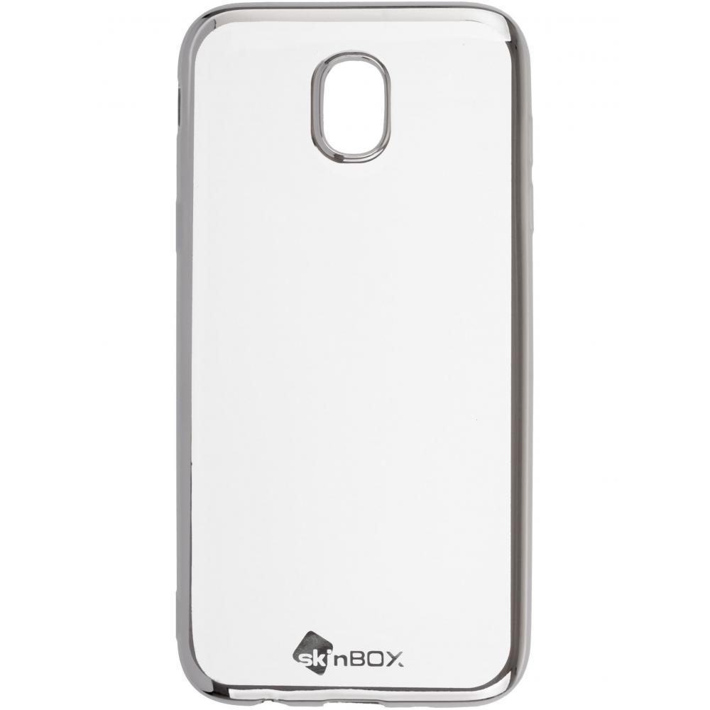 Силиконовый чехол для телефона skinBOX. Silicone chrome border, для Samsung Galaxy J5 (2017), цвет серебристый