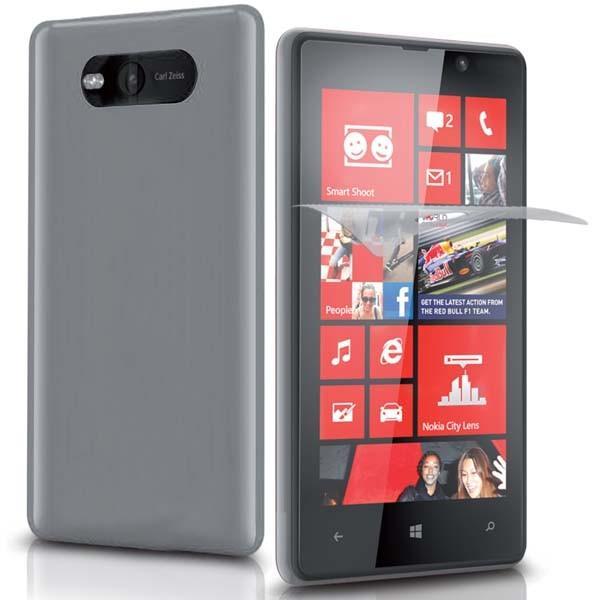 Чехол Aero и пленка защитная для Nokia Lumia 820 (прозрачный)