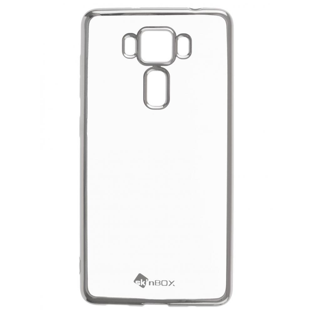 Силиконовый чехол для телефона skinBOX. Silicone chrome border, для Asus ZS550KL, цвет серебристый