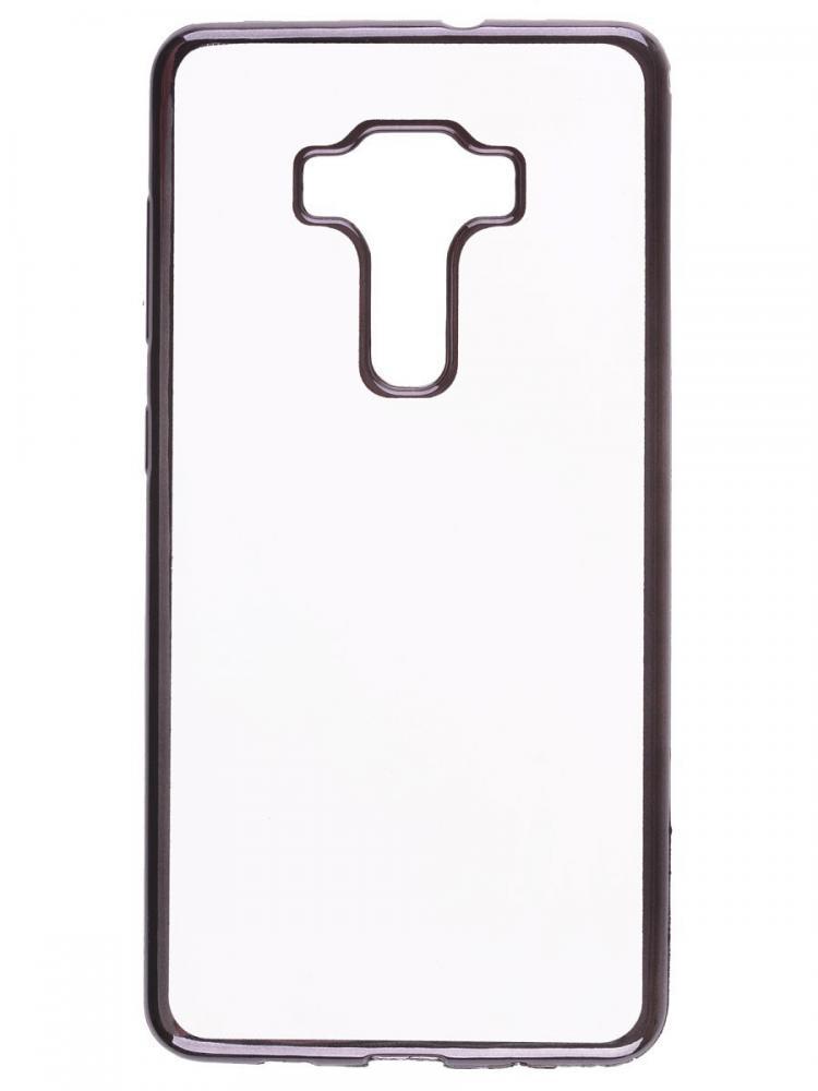 Силиконовый чехол для телефона skinBOX. Silicone chrome border, для Asus ZS570KL, цвет темно-серебристый
