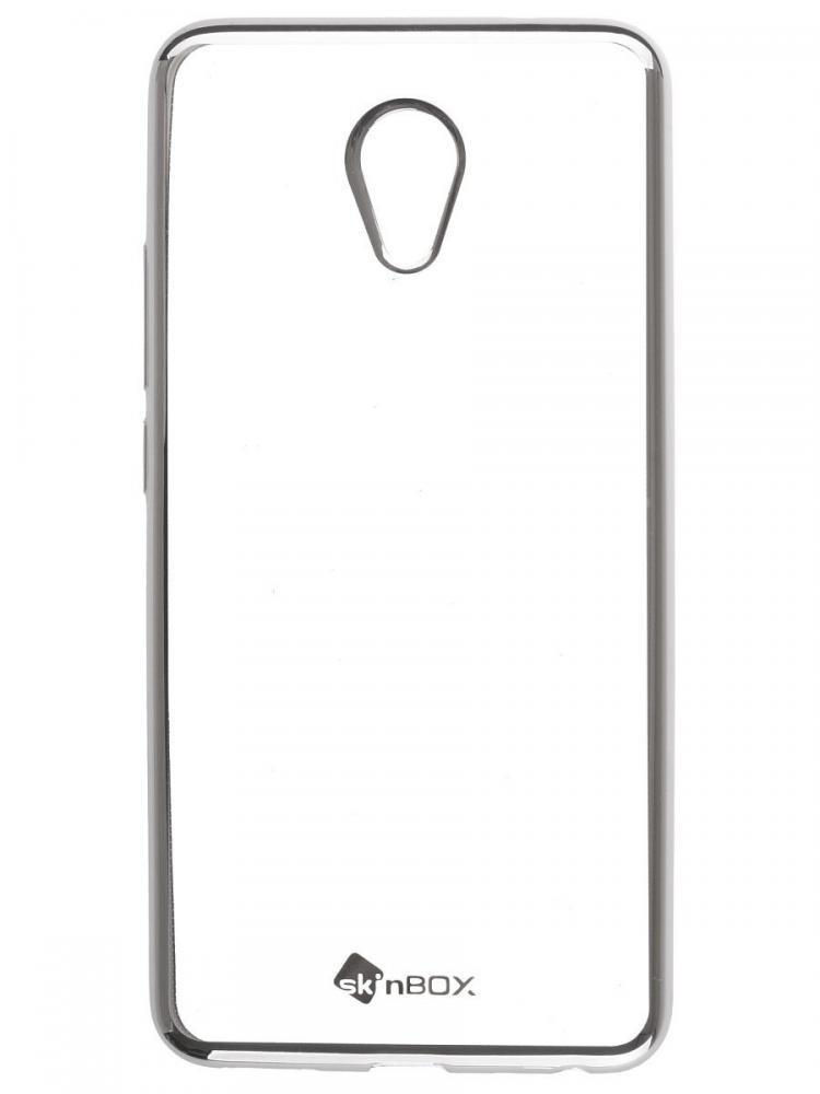 Силиконовый чехол для телефона skinBOX. Silicone chrome border, для Meizu M5, цвет серебристый