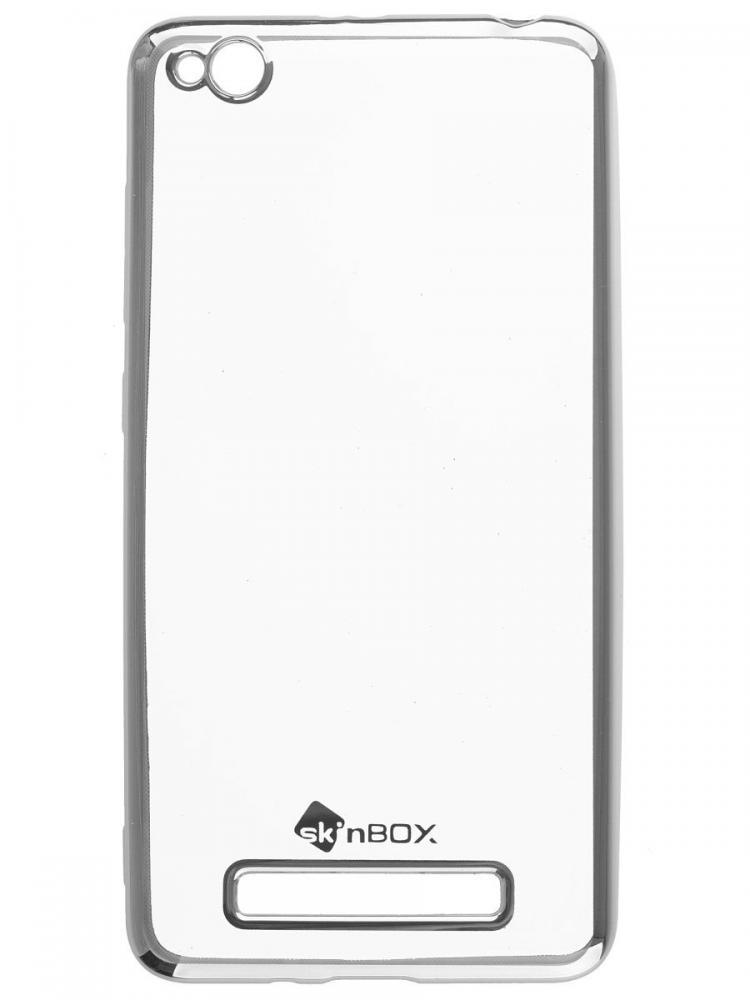 Силиконовый чехол для телефона skinBOX. Silicone chrome border, для Xiaomi RedMi 4A, цвет серебристый