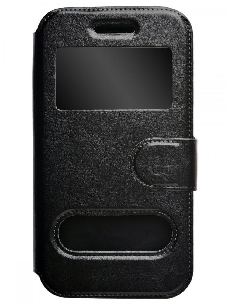 Чехол-книжка для телефона универсальный skinBOX. Silicone Sticker 4,5, цвет черный