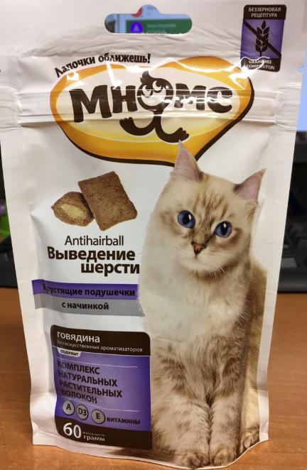 Подушечки для кошек Мнямс Выведение шерсти с говядиной, 60 г