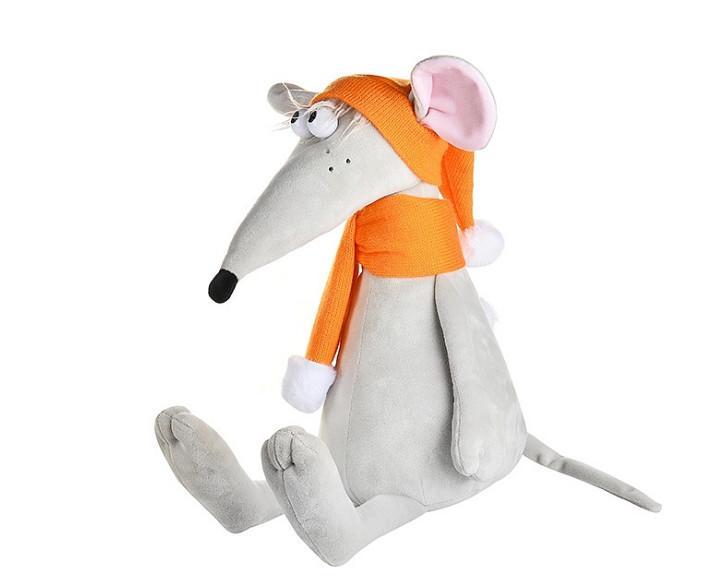 Мягкая игрушка Крыс Денис в оранжевой шапке и шарфе, 34 см
