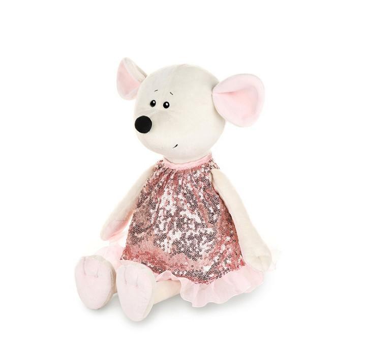 Мягкая игрушка Мышка Мила в розовом платье, 28 см
