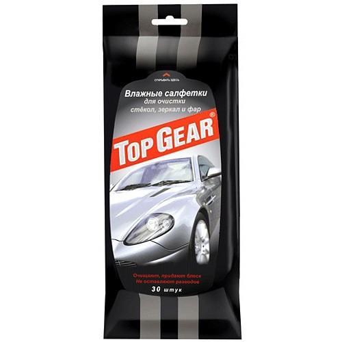 Салфетки влажные для стекол, фар, зеркал Top Gear, 30 штук
